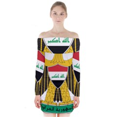 Coat of Arms of Iraq  Long Sleeve Off Shoulder Dress