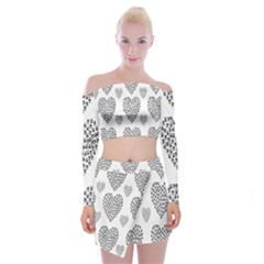 Black Paw Hearts Love Animals Off Shoulder Top With Skirt Set