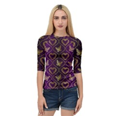 Flower Butterfly Gold Purple Heart Love Quarter Sleeve Tee
