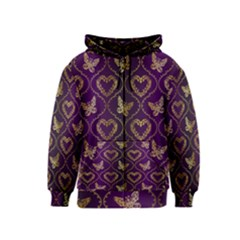 Flower Butterfly Gold Purple Heart Love Kids  Zipper Hoodie