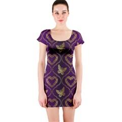 Flower Butterfly Gold Purple Heart Love Short Sleeve Bodycon Dress
