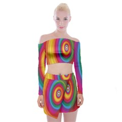 Circle Rainbow Color Hole Rasta Off Shoulder Top With Skirt Set