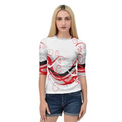 Flower Floral Star Red Wave Quarter Sleeve Tee
