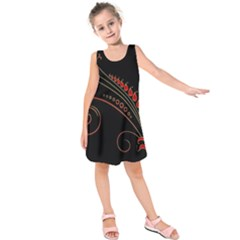 Flower Leaf Red Black Kids  Sleeveless Dress