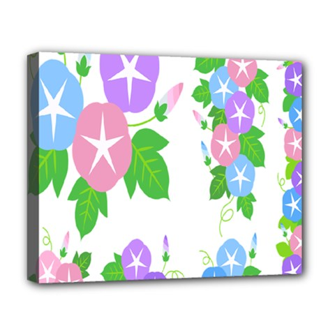 Flower Floral Star Purple Pink Blue Leaf Deluxe Canvas 20  X 16