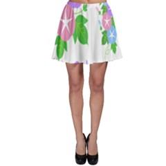 Flower Floral Star Purple Pink Blue Leaf Skater Skirt