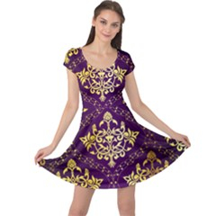 Flower Purplle Gold Cap Sleeve Dresses
