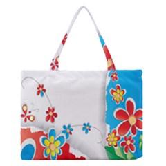Flower Floral Papper Butterfly Star Sunflower Red Blue Green Leaf Medium Zipper Tote Bag