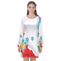 Flower Floral Papper Butterfly Star Sunflower Red Blue Green Leaf Long Sleeve Chiffon Shift Dress