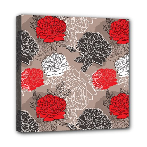 Flower Rose Red Black White Mini Canvas 8  x 8