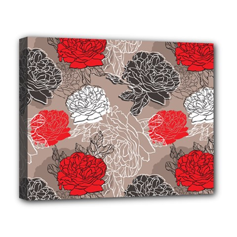 Flower Rose Red Black White Deluxe Canvas 20  X 16