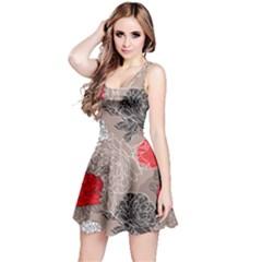 Flower Rose Red Black White Reversible Sleeveless Dress