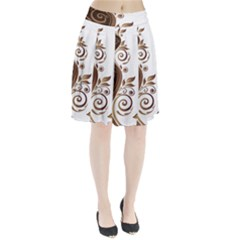 Leaf Brown Butterfly Pleated Skirt
