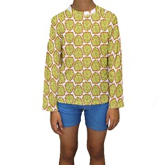 Horned Melon Green Fruit Kids  Long Sleeve Swimwear