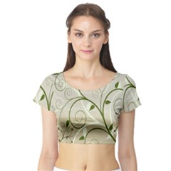 Leaf Sexy Green Gray Short Sleeve Crop Top (tight Fit)