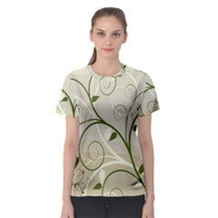 Leaf Sexy Green Gray Women s Sport Mesh Tee