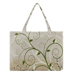 Leaf Sexy Green Gray Medium Tote Bag