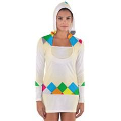 Plaid Wave Chevron Rainbow Color Women s Long Sleeve Hooded T-shirt
