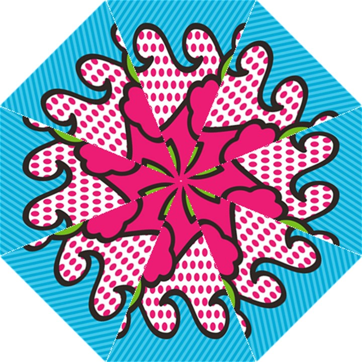 Rose Floral Circle Line Polka Dot Leaf Pink Blue Green Folding Umbrellas