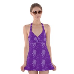 Purple Flower Rose Sunflower Halter Swimsuit Dress