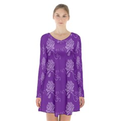 Purple Flower Rose Sunflower Long Sleeve Velvet V Neck Dress