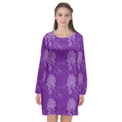 Purple Flower Rose Sunflower Long Sleeve Chiffon Shift Dress