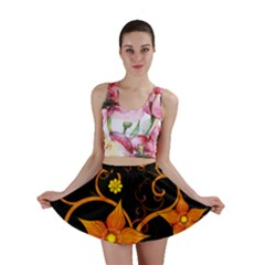 Star Leaf Orange Gold Red Black Flower Floral Mini Skirt