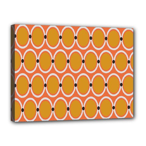 Orange Circle Polka Canvas 16  x 12