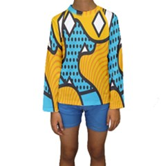 Wave Chevron Orange Blue Circle Plaid Polka Dot Kids  Long Sleeve Swimwear