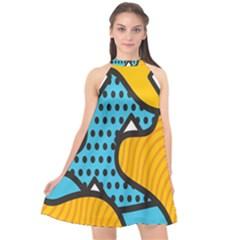 Wave Chevron Orange Blue Circle Plaid Polka Dot Halter Neckline Chiffon Dress
