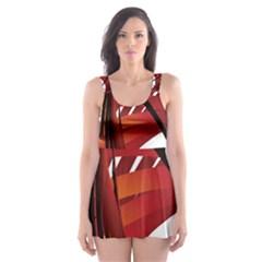Webbing Red Skater Dress Swimsuit