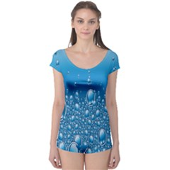 Water Bubble Blue Foam Boyleg Leotard