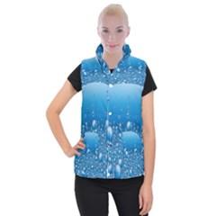 Water Bubble Blue Foam Women s Button Up Puffer Vest