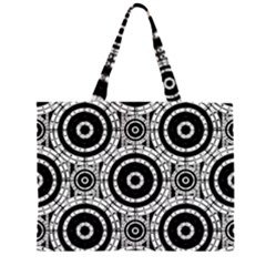 Geometric Black And White Zipper Large Tote Bag