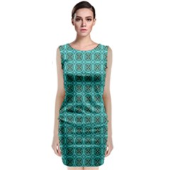 Turquoise Damask Pattern Sleeveless Velvet Midi Dress