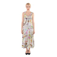 Colorful Seamless Floral Background Sleeveless Maxi Dress