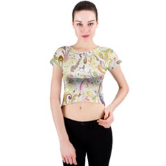 Colorful Seamless Floral Background Crew Neck Crop Top