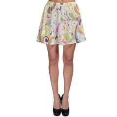 Colorful Seamless Floral Background Skater Skirt