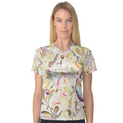 Colorful Seamless Floral Background Women s V Neck Sport Mesh Tee