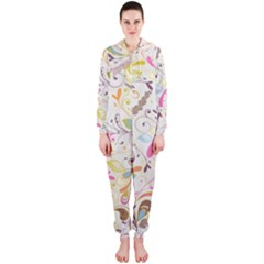 Colorful Seamless Floral Background Hooded Jumpsuit (ladies)