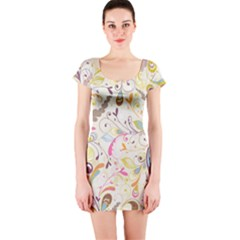 Colorful Seamless Floral Background Short Sleeve Bodycon Dress