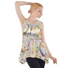 Colorful Seamless Floral Background Side Drop Tank Tunic