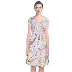 Colorful Seamless Floral Background Short Sleeve Front Wrap Dress