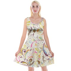 Colorful Seamless Floral Background Reversible Velvet Sleeveless Dress