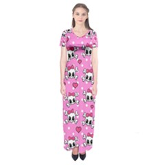 Cute skulls  Short Sleeve Maxi Dress