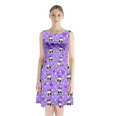 Cute skulls  Sleeveless Waist Tie Chiffon Dress