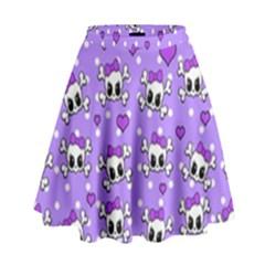 Cute skulls  High Waist Skirt