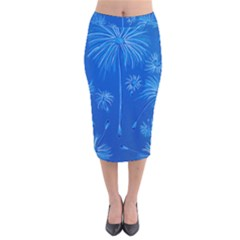 Floating Velvet Midi Pencil Skirt