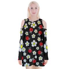Sixties Flashback Velvet Long Sleeve Shoulder Cutout Dress