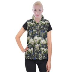 Floral Skies 2 Women s Button Up Puffer Vest